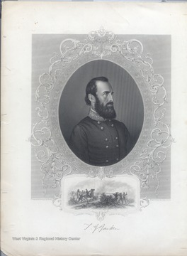 Portrait of Stonewall Jackson from an Ambrotype by Brady.  Also shown is a depiction of Stonewall Jackson being mortally wounded.