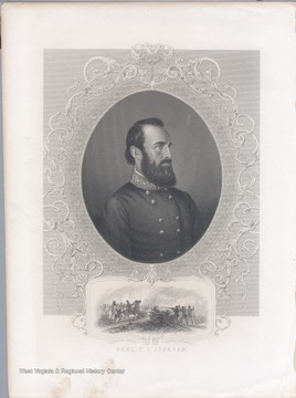 Portrait of Stonewall Jackson as well as a depiction of him being mortally wounded made from an ambrotype from Matthew Brady.