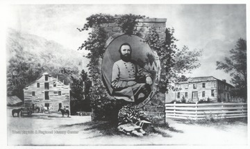 Portrait of Stonewall Jackson centered among images of his boyhood home, Jackson's Mill, Lewis County, (West) Virginia.