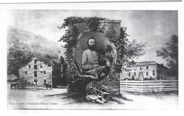 Portrait of Stonweall Jackson centered among images of his boyhood home, Jackson's Mill.