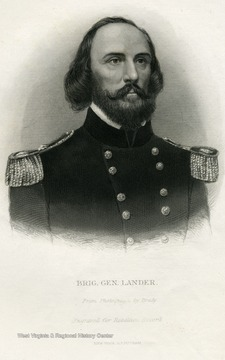 Engraved portrait of Brigadier General Lander for the Rebellion Record.
