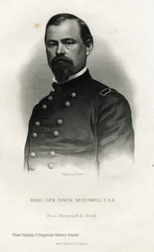 Engraved portrait of Brigadier General Irwin McDowell from a photograph by Matthew Brady.