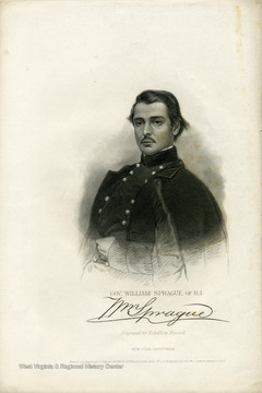 Portrait of Governor William Sprague of Rhode Island engraved for the Rebellion Record.