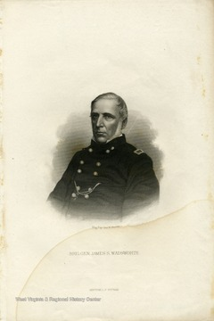 An engraved portrait of Brig. General James S. Wadsworth by George E. Perine.