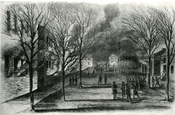 Burning of the U.S. Armory and Arsenal at Harpers Ferry on the night of April 18, 1861. From a sketch in Leslies Weekly. See West Virginia Collection Pamphlet 6610 and Boyd Stutler's 'WV in the Civil War.'