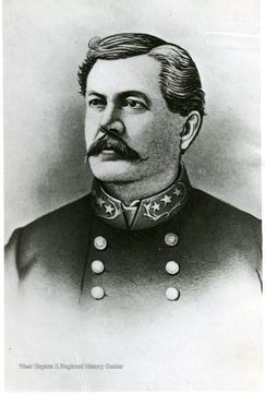 Portrait of Maj Gen. Tho. L. Rosser, CSA. He captured Beverly in January 1865, despite snow, cold, and high water. See West Virginia Collection Pamphlet 6610 and Boyd Stutler's 'WV in the Civil War.'