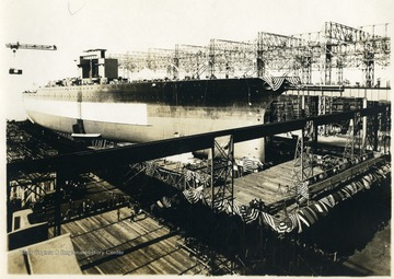 The U.S.S. West Virginia is pictured in a dry dock moments before its launch.