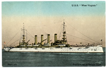Postcard with a side view of the first U.S.S. West Virginia at sea.