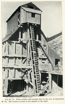 Picture of a stone crusher and storage bins in the city of Charleston, W. Va. The crusher is back in the shadow to the right. From the Report of the W. Va. State Board of Agriculture for the Quarter Ending Sept. 30, 1908.