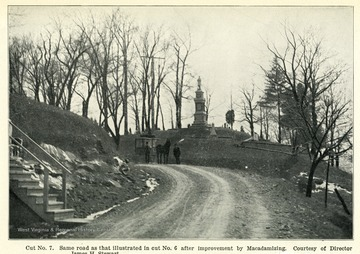 Caption reads, 'Cut No. 7.  Same road as that illustrated in cut No. 6 after improvement by Macadamizing. Courtesy of Director James H. Stewart.'