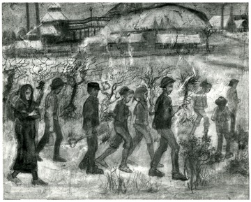 This sketch shows men, a women and children walking to work.  John Williams/ Coal Life Project.  Rijksmuseumkrller-Mller, Otterlo(G.) Copyright Holland.