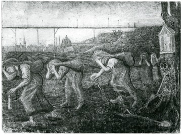 A painting by Van Gogh that shows slumped over workers walking along with sacks hanging from their heads.  Two children stand in the background. John Williams, Coal Life Project. Rijksmuseumkrller-Mller, Otterlo(G.) Copyright Holland.