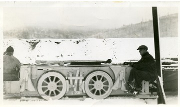 Mine car with driver in the winter at Thomas, W. Va.