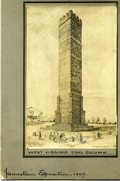 Drawing of the West Virginia Coal Column at the Jamestown Exposition, 1907.