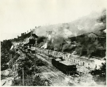 This is a view of the Bee Hive Coke Ovens at Mine No. 63, Monongah, W. Va.