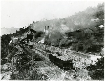 Bank of Bee Hive ovens in operation at Mine No. 63, Monongah, W. Va.