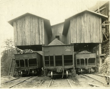 Coal filled hoppers at the tipple on Laurel Creek, Quinnimont District, Fayette County.