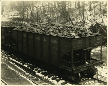 Hopper filled with 3 Inch Lump Export Coal Company.