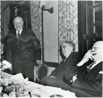 Two coal officials laughing with John L. Lewis during a Consolidation Coal Co. Inspection trip.