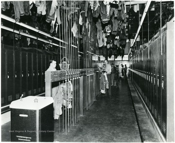 Miners locker room during a Consolidation Coal Co. Inspection trip.
