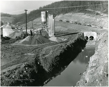 Stream, coal piles, and buildings at the Eastern Coal Co. Miracle Run Mine in Monongalia County.