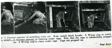 Four pictures showing the proper and wrong ways to scotch and clean under cages.