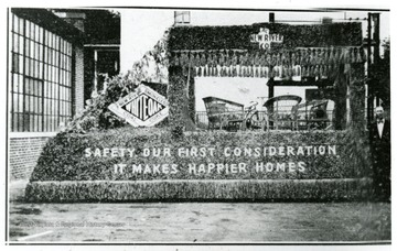Safety float of the New River Coal and Coke Co. on the Fourth of July. Floats with safety themes highlighted many parades in Fayette and Raleigh Counties.