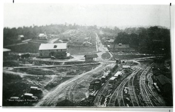 Birds eye view of Summerlee Mine, shows railroad leading to the tipple.