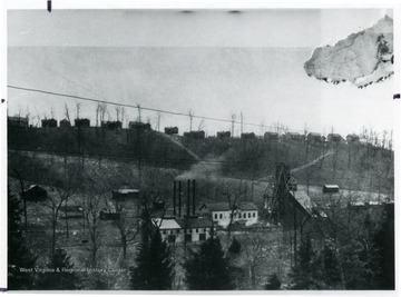 View of houses that line the hilltop above the Sherwood Mine.