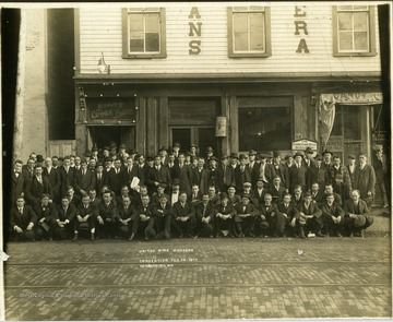 Group portrait of the U.M.W.A. in front of Evans Opera House at a convention in Lonaconing, MD.