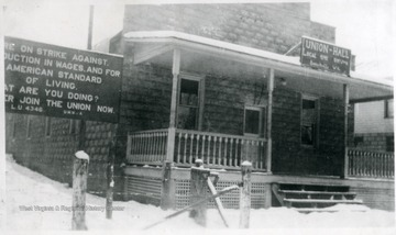 Union Hall, Local 4346 and strike sign on left side.