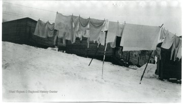 Clothes hanging on line near barracks of Jamison No. 9