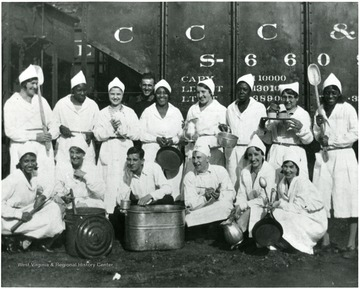 Group portrait of kitchen staff at Scott's Run in the winter of 1932-1933.