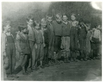 Group of boys probably near the Shack, Pursglove, W. Va., Monongalia County. 'For information on the Mountaineer Mining Mission See A&M 2491 (S.C.).'