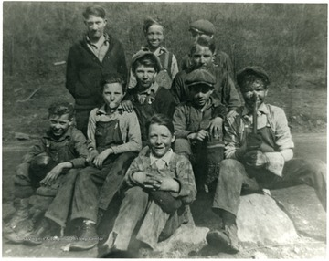 Group portait of boys at Pursglove. 'For information on the Mountaineer Mining Mission See A and M 2491 (S.C.).'