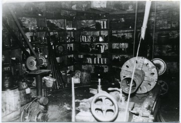 Interior of the machine shop at Fire Creek.