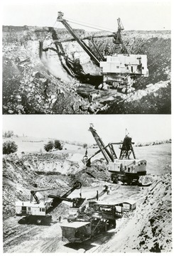 'The nature of Hanna Coal's surface mining operations is illustrated here. Among the company's seven strip shovels for removing the overburden and uncovering the 52-inch vein of coal, are four giants weighing in the neighborhood of 1,800 tons each, equipped with booms up to 120 feet long, and with scoops having a capacity up to 50 cubic yards. Each of these large shovels can move enough stone and earth per year to cover a football field more than a mile high.'