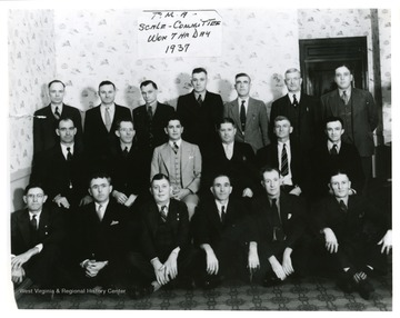 A group portrait of the Progressive Mine Workers' Scale Committee that won the rights for a seven hour working day in 1937.