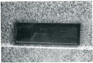 Joe Ozanic's name is on the top right of the plaque commemorating members of the Mother Jones monument committee.