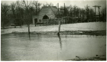 Outside of a flooded building at the No. 11 air shaft.