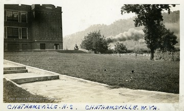 Sidewalk leading up to Chathamsville High School, Chathamsville, W.Va.  Photograph from Joe Ozanic scrapbook.