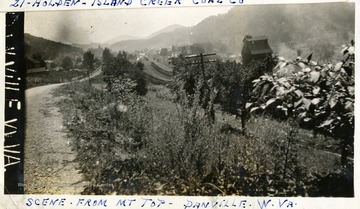 Tracks, trees, homes at Danville, W. Va. visible from mountaintop.  Photograph from Joe Ozanic scrapbook.