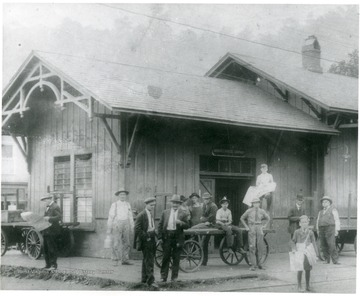 People outside C&O railway passenger and express depot (Adams Express Co.)