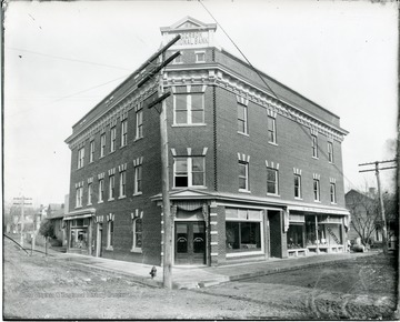 Corner photo of Alderson National Bank (first built 1910).