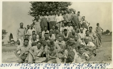 Group portrait of volunteer workers at Mother Jones Memorial, Miner's Cemetery, Mt. Olive, Illinois.