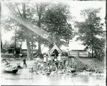 'Note the unusual camp flag over the tent in the center.'