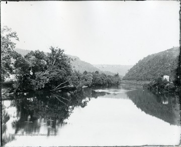 Greenbrier River from Bridge at Alderson.  House visible on the shore.