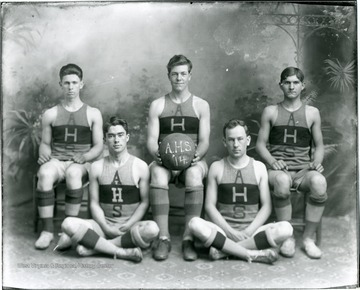 Group portrait of basketball players at Alderson High School, 1914.