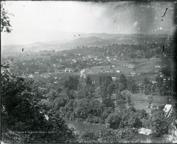 View of North Alderson looking N.W.  Camp Greenbrier in foreground.  Brick public school building right-center.