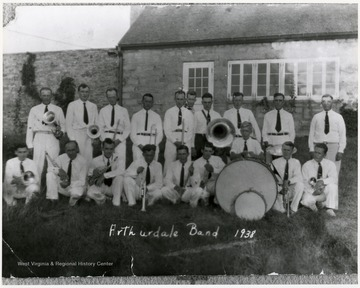 Group portrait of the Arthurdale Band in 1938.